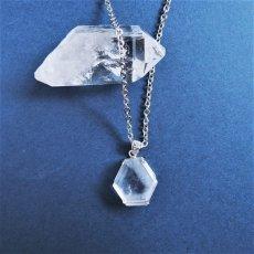画像4: 【1点もの・B】エンジェルラダークォーツ 原石スライス サージカルステンレスシルバー45+5cmネックレス (4)
