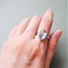 画像5: 【フリーサイズ・D】Silver925 デュモルチェライトインクォーツ オーバルカボション リング(指輪) (5)