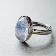 画像2: 【フリーサイズ・D】Silver925 デュモルチェライトインクォーツ オーバルカボション リング(指輪) (2)