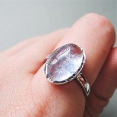 画像3: 【フリーサイズ・D】Silver925 デュモルチェライトインクォーツ オーバルカボション リング(指輪) (3)