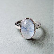 画像1: 【フリーサイズ・D】Silver925 デュモルチェライトインクォーツ オーバルカボション リング(指輪) (1)