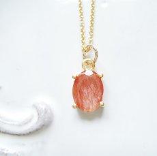 画像6: 【残り1】まるでオレンジジュレ♪ ラビットファー オレンジルチル 宝石ジェム 14KGFネックレス40cm (6)