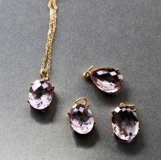 画像8:  【1点もの・Aオーバル】超大粒 宝石用ルース ピンクアメジスト 14KGF50cmネックレス (8)