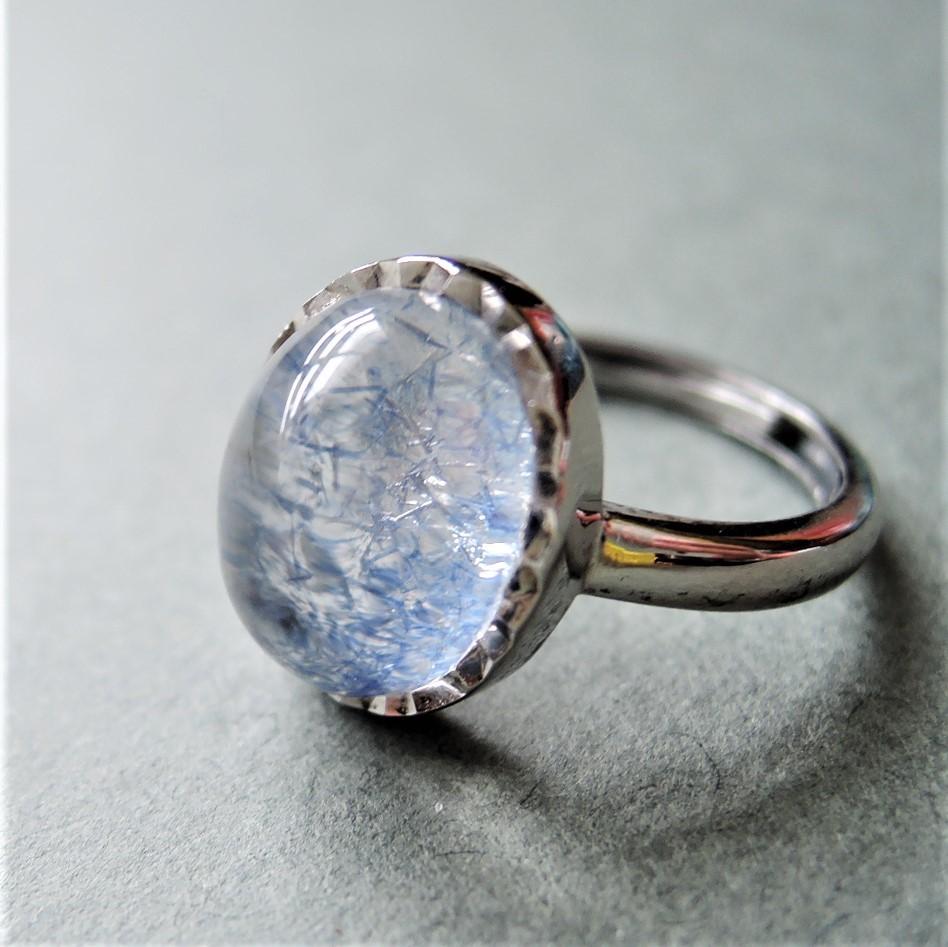画像1: 【フリーサイズ・B】Silver925 デュモルチェライトインクォーツ オーバルカボション リング(指輪) (1)