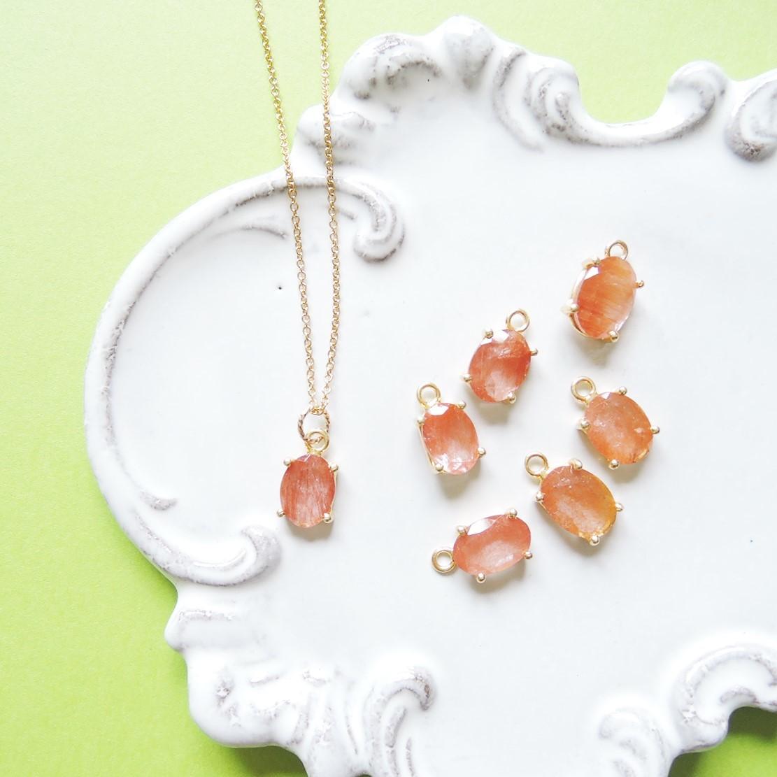画像1: 【残り1】まるでオレンジジュレ♪ ラビットファー オレンジルチル 宝石ジェム 14KGFネックレス40cm (1)
