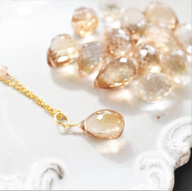 画像1: 【限定数のみ】超希少! ロゼシャンパンカラー 宝石質インペリアルトパーズ 大粒ドロップ 14KGF50cmネックレス (1)
