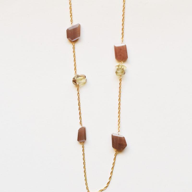 画像1: 【1点もの】オレンジムーンストーン レモンスモーキー アシンメトリー ステーション ゴールドチェーンネックレス約80cm+5cm (1)