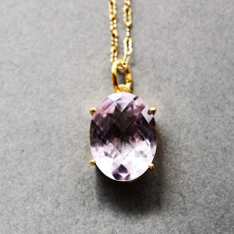 画像1:  【1点もの・Aオーバル】超大粒 宝石用ルース ピンクアメジスト 14KGF50cmネックレス (1)